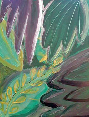 Acrylic painting of leaves on canvas depicting close up of different leaves with subtle hues of reds and greens