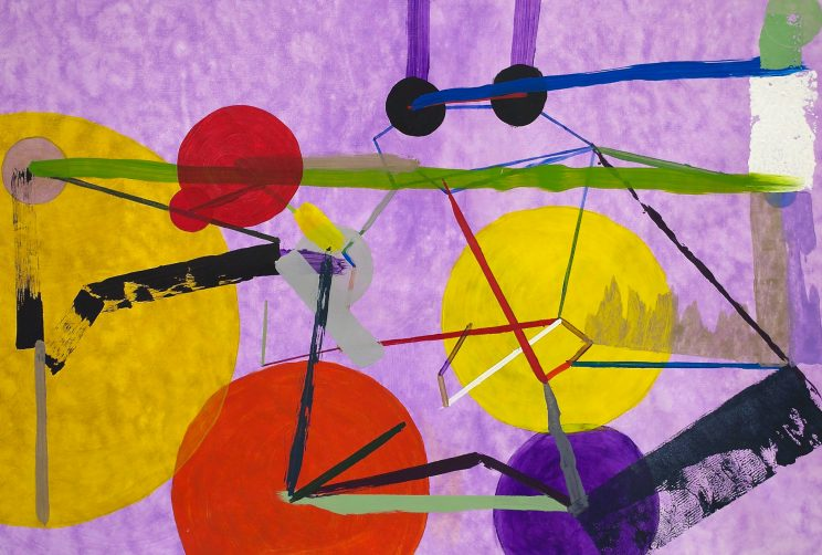 Abstract painting with large red, yellow, and purple circles, connected by multi-colored lines over a hazy purple background.