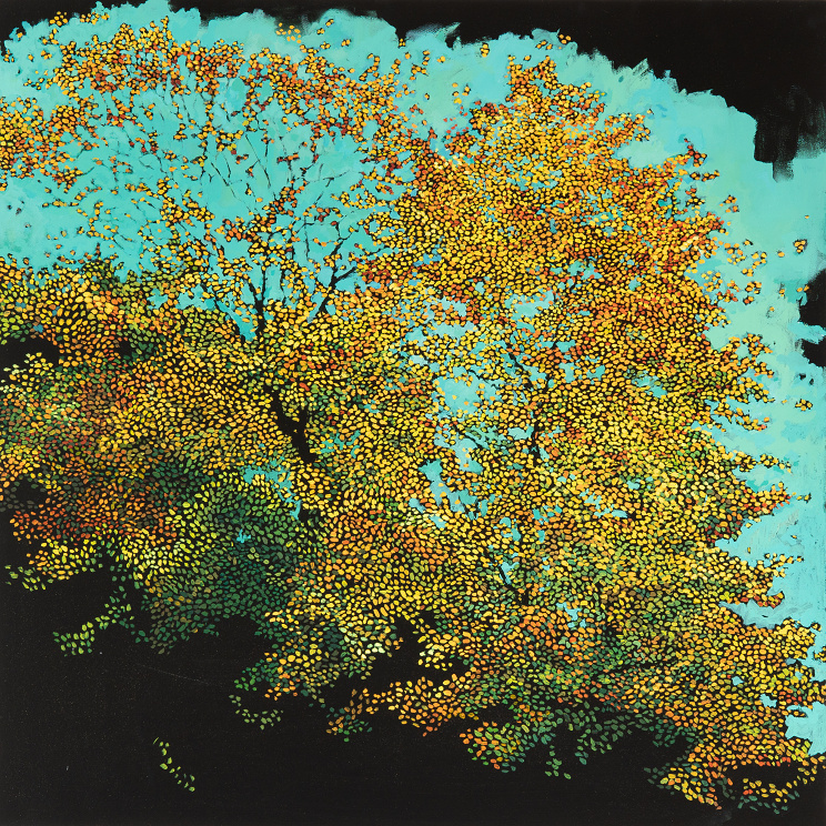 Fragmentation - Colors of greens, reds, yellows create the foliage of a fall tree while collapsing into the black canvas