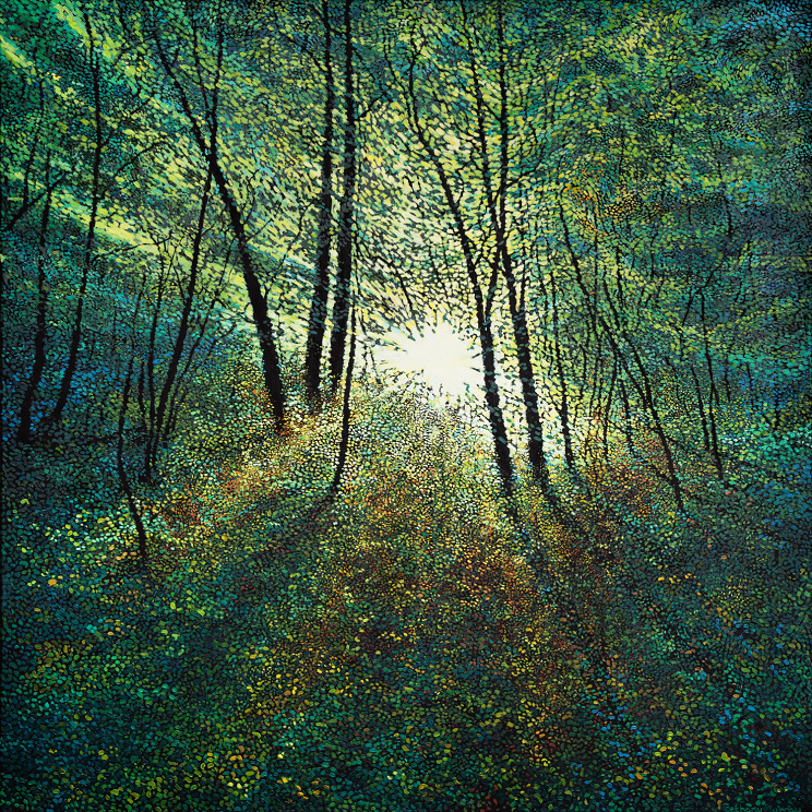 Hallelujah - Large, intricate painting with a warm sunbeam cascading through a forest field