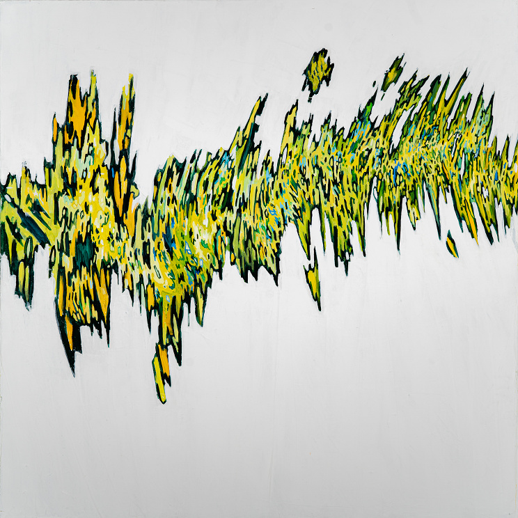 Heartbeat - Large zig-zagging green and yellow pattern on a field of white