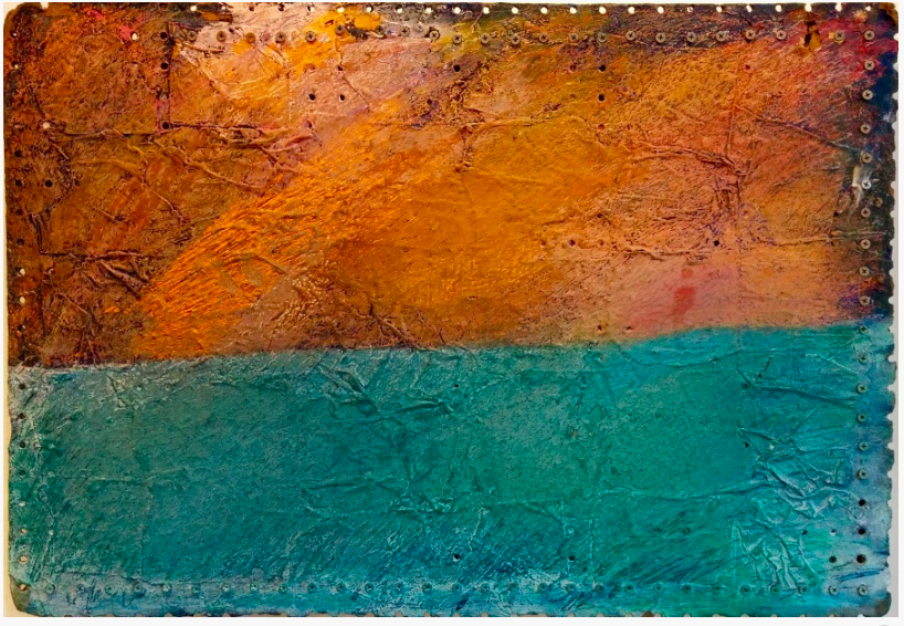 Painting with the top half horizontally in shades of oranges and browns, reminiscent of a sunset, and a turquoise lower half. Painted on a pegboard.
