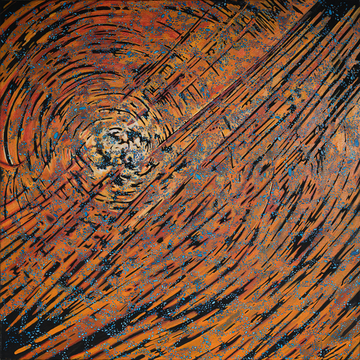 Painting with orange and black stripes oscillate into a galaxy structure with flecks of blue orbs