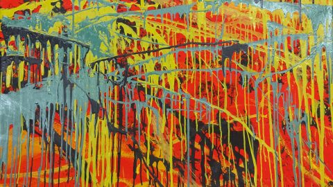 Red canvas with drips of black, turquoise, and yellow streaming down the painting.