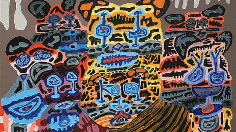 Painting by Dominic Killiany with several abstract tigers in bright colors