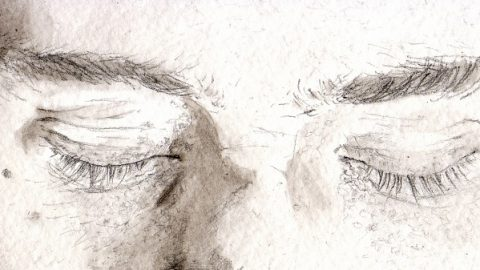 Drawing of a close up face, with eyes closed. Only visible are the eyebrows, eyes and nose