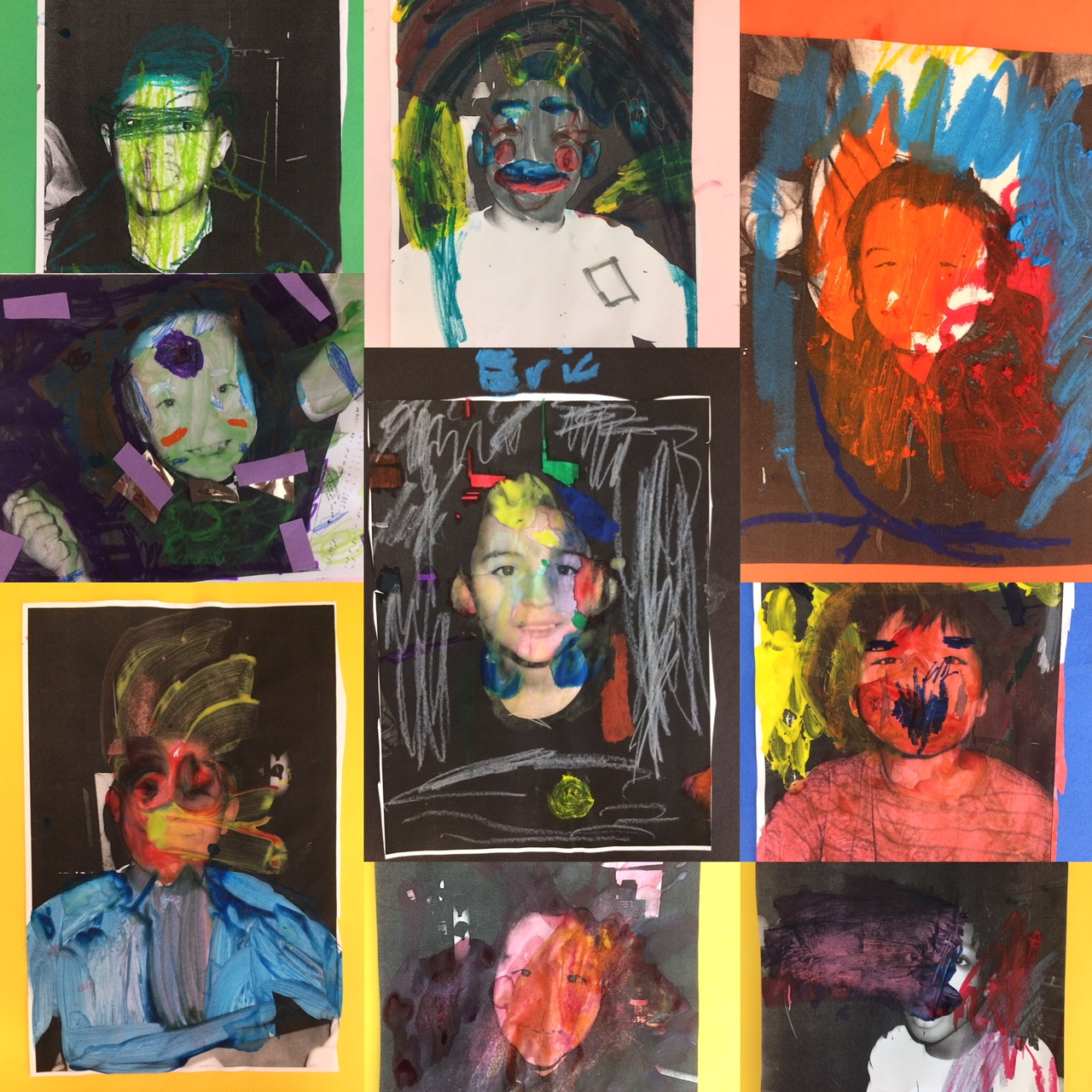 Collage of self-portraits of young children, made with black and white photos decorated with bright colors