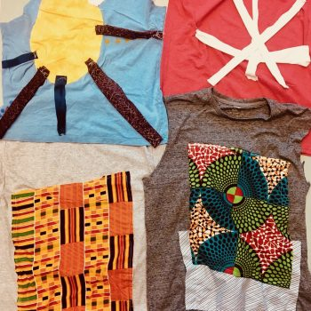 Collage of stitched fabric. One appears to look like a sun, one appears to be on a t-shirt