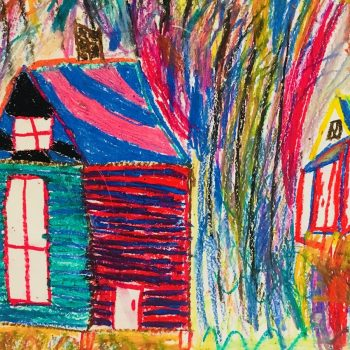 Colorful pastel drawing of a house with a colorful background.
