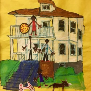 Artwork collage of a house and people over a yellow background