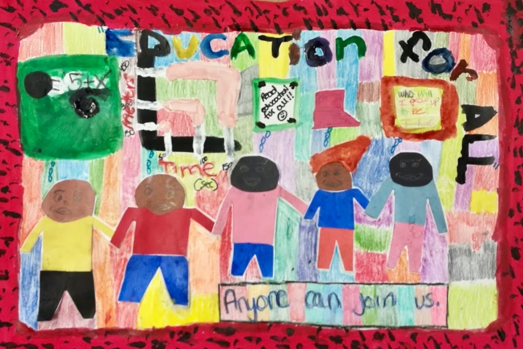 """Child's artwork showing four children over a colorful background with the words """"Education for All"""""""