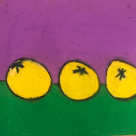 Oil pastel of three yellow tomatoes on a table with purple and green background