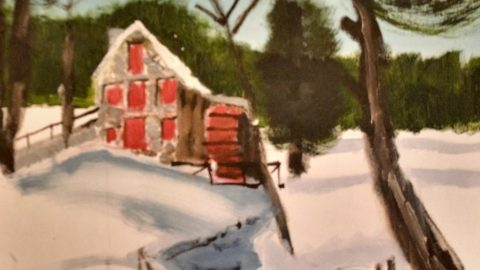 An oil painting of a small barn in a field of snow with red doors and green trees.