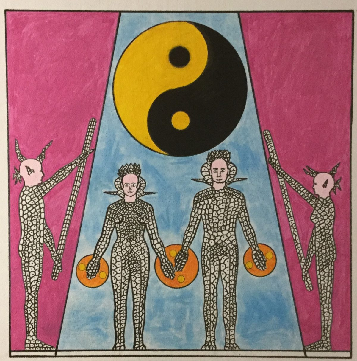 A painting of four figures in a line, the middle two are facing forwards flanked by two in profile.  Behind them is a blue and pink background with a yellow and black yin yang symbol.