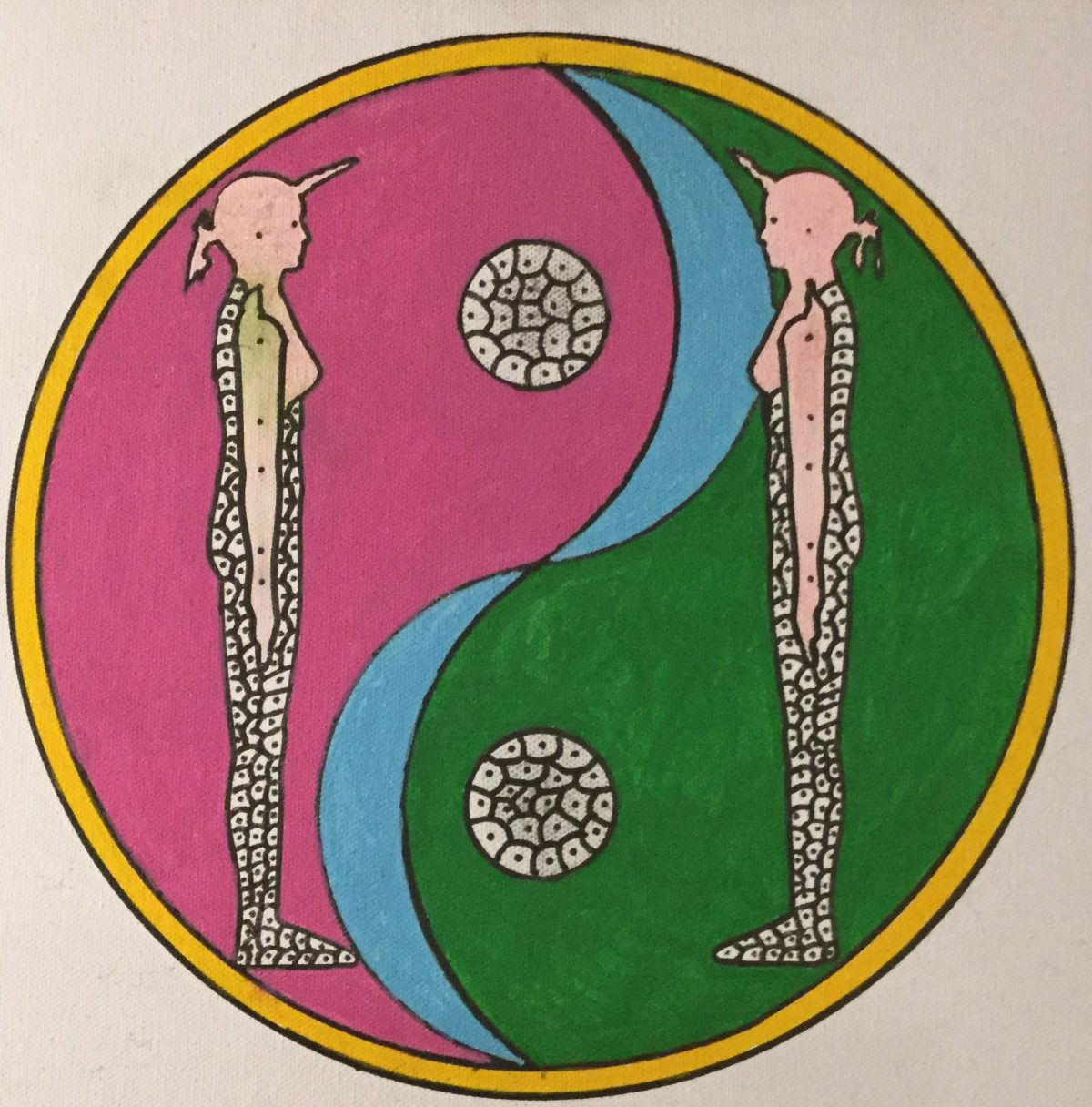A painting of two pink figures facing each other in front of a circle divided in half by a curved blue line.  One side of the circle is green, the other is pink.