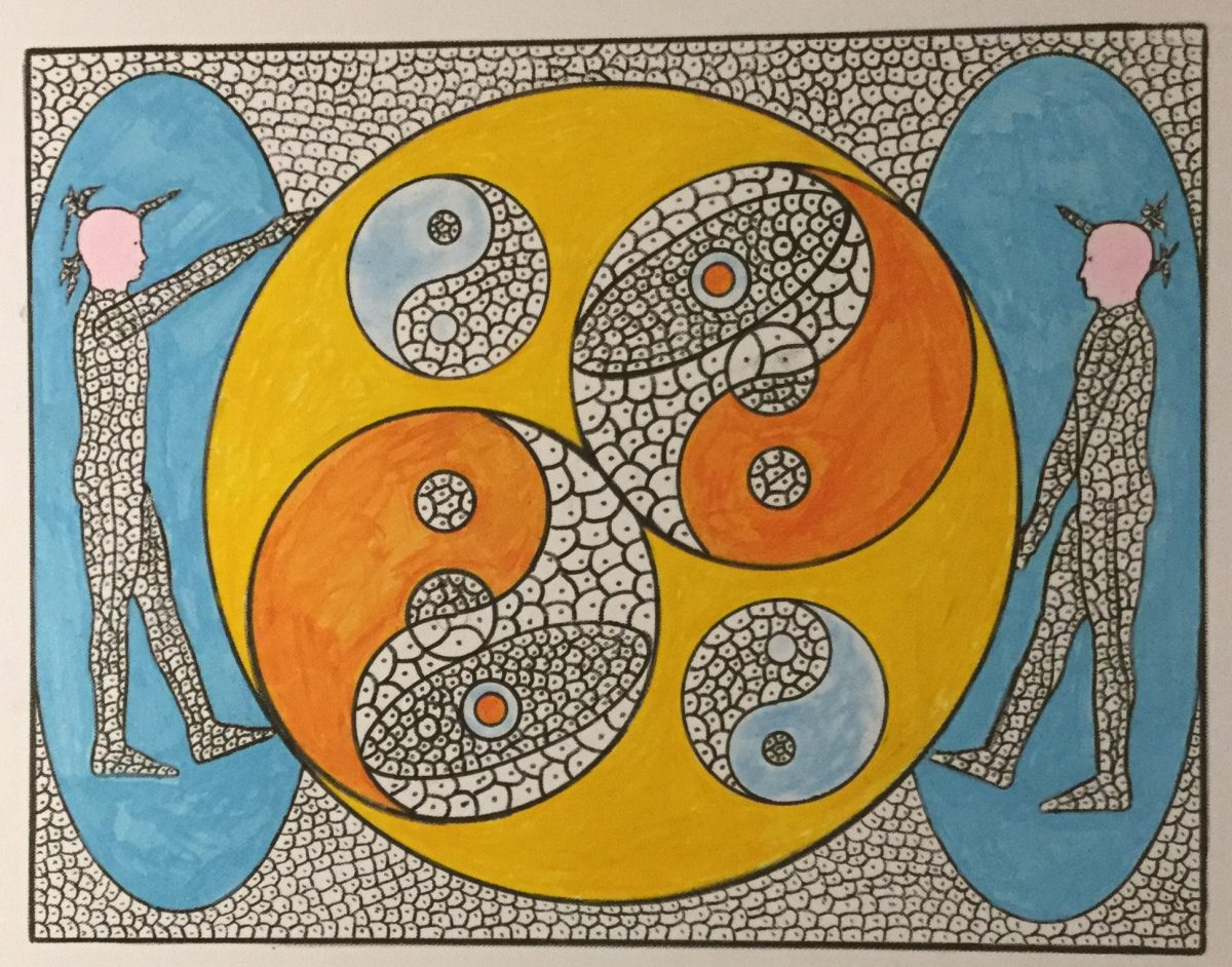 A painting of two outlined figures on profile inside blue ovals.  Between them is a large orange circle with 4 yin yang symbols inside.