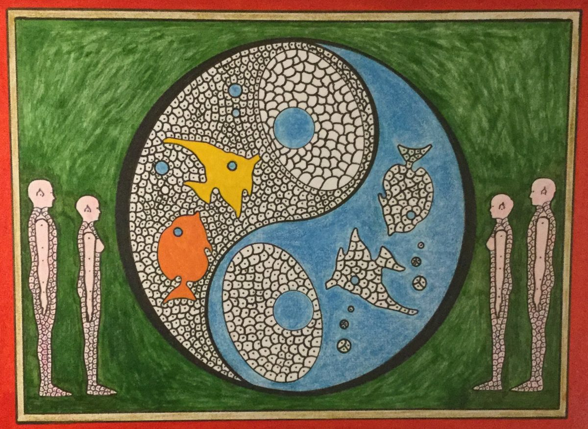 A painting with a green background featuring a large circle divided in half by a curved line containing the outlines of four fish and bubbles.  On either side of the circle there are two figures outlined and facing each other.
