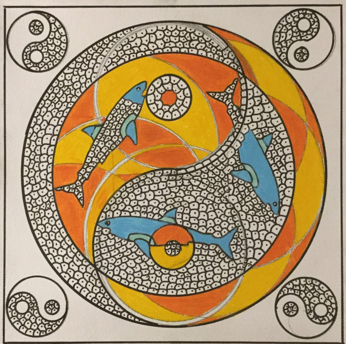A painting depicting a geometric design of 3 sharks and small circles inside of a larger circle with blue, orange and yellow.  In each corner of the painting there is a yin-yang symbol.