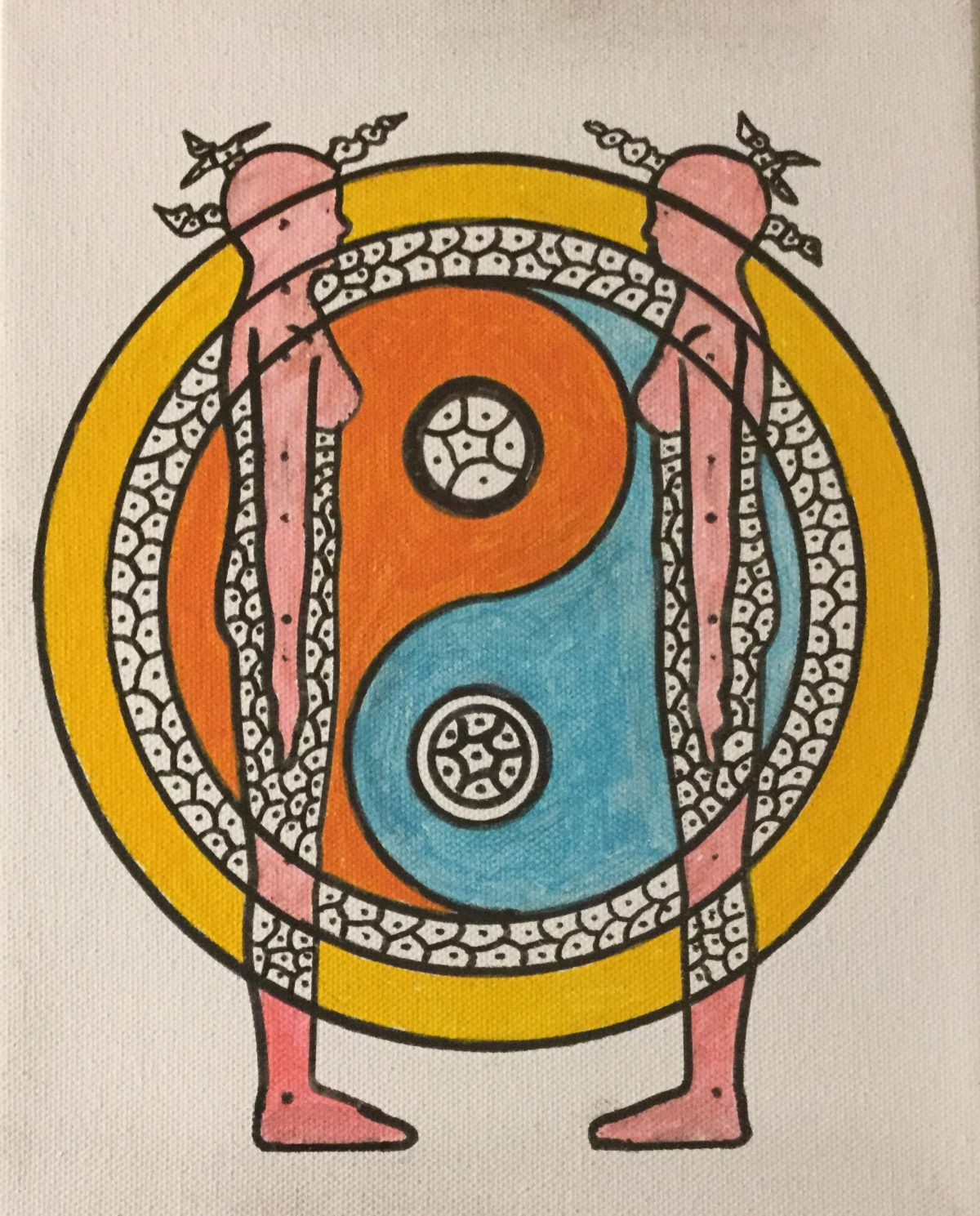 A painting showing the outline of two pink figures facing each other, in front  of concentric circles.