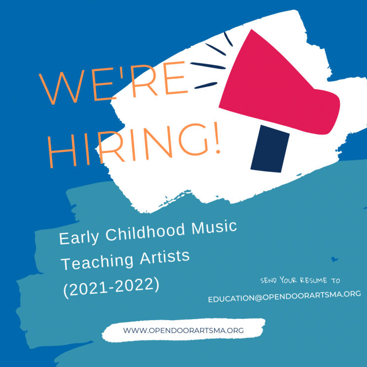 Colorful image of a megaphone announcing that ODA is hiring for an early childhood music teaching artist
