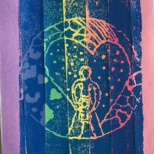 Print made by a child, showing the outline of a person with a heart around them, over a rainbow-colored background