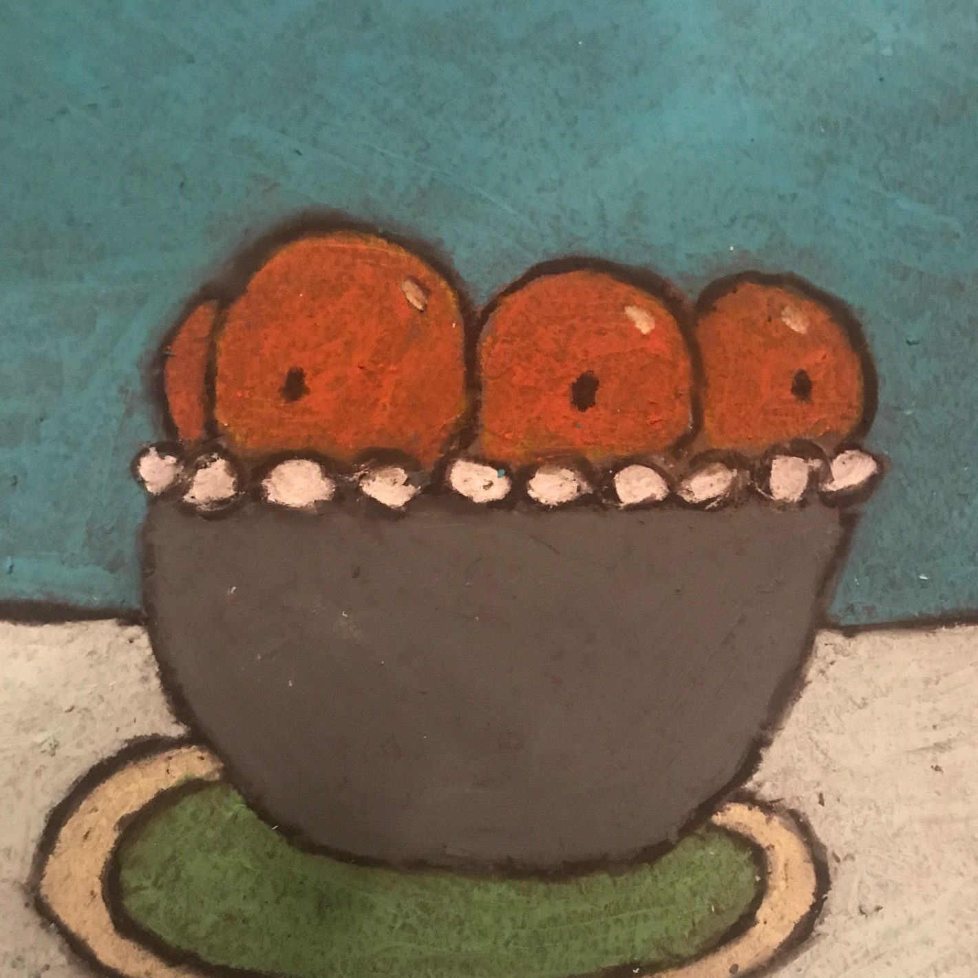 Oil pasel drawing of a gray fruit bowl on a table wtih a teal background