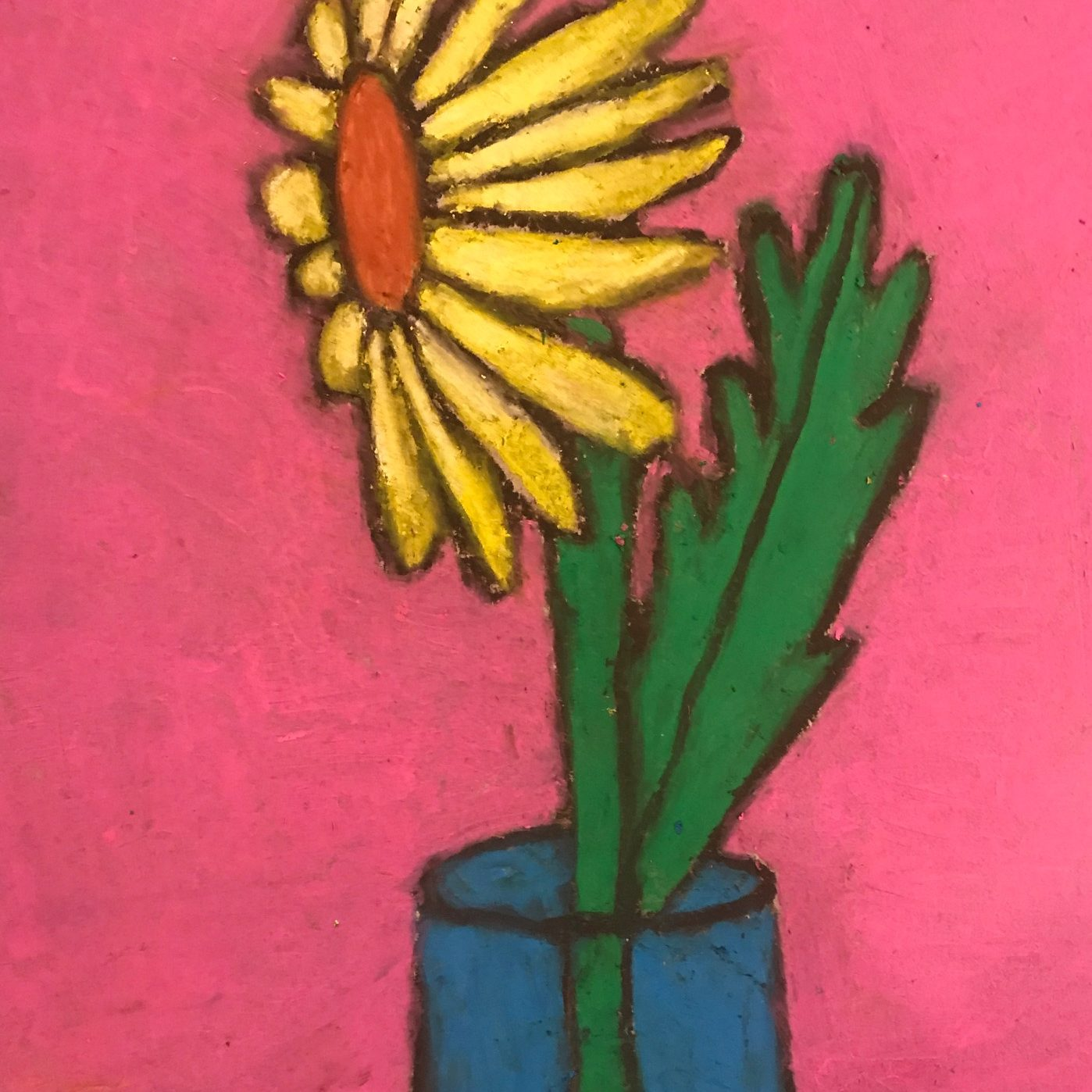 Oil pastel drawing of a yellow sunflower in a blue vase with a bright pink background