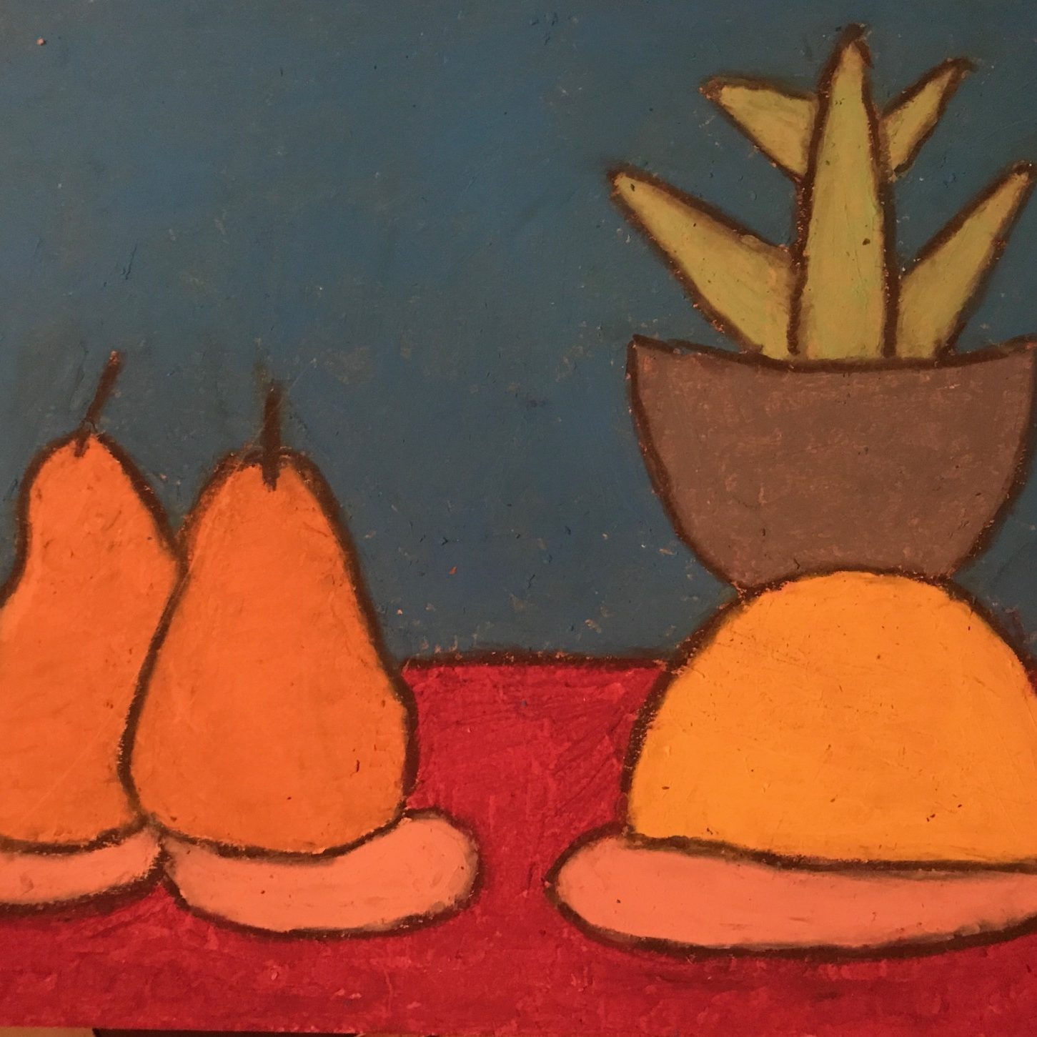 Oil pastel drawing of two pears, and orange, and a pant