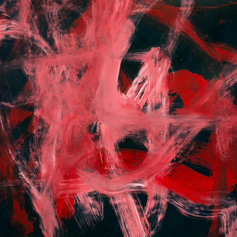 Painting with bold pink and red thick brushstrokes over a black background