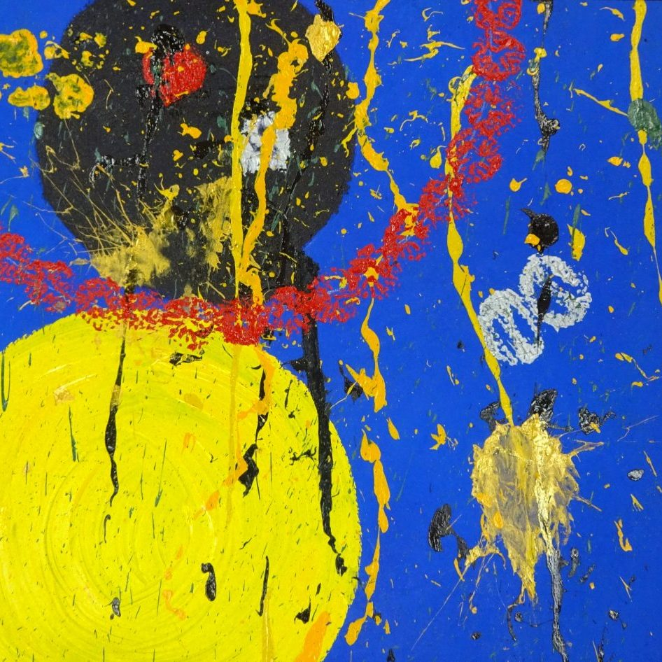 Blue canvas with a large yellow circle in the lower left corner and a slightly smaller black circle just above it which is surrounded by a large red ring - small splashes of yellow and gold are throughout the painting.