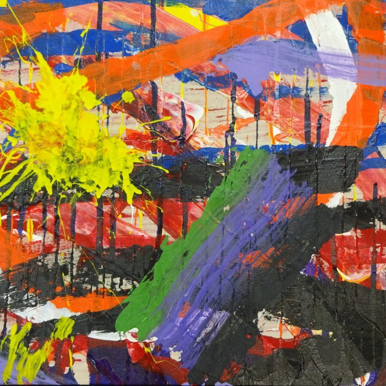 A busy array of asymmetric red and black stripes on canvas with a splash of yellow in the upper left corner and a swipe of green, purple, and black in the lower center.